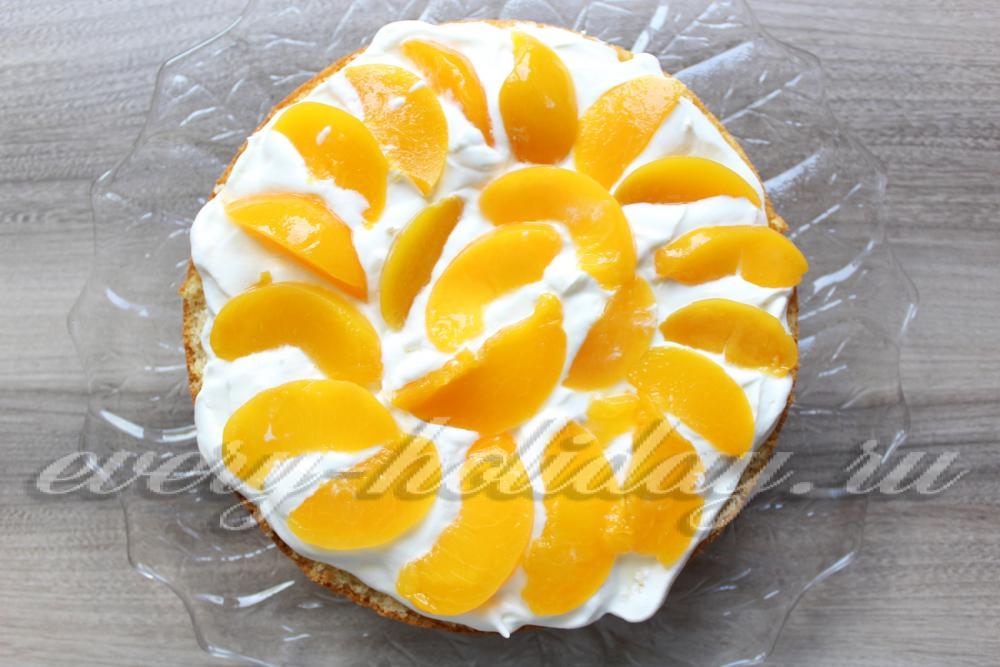 Рецепт бисквитный торт с персиками