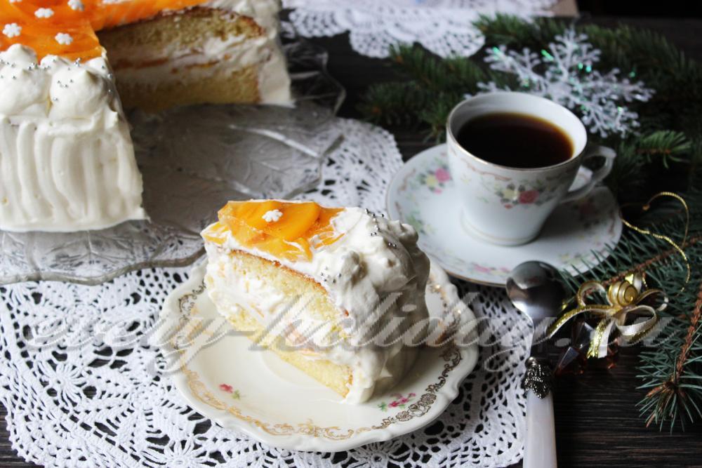 торт шоколадный с персиками консервированными рецепт с фото