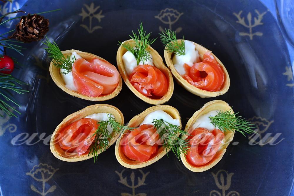 тарталетки с начинкой с красной рыбой рецепты