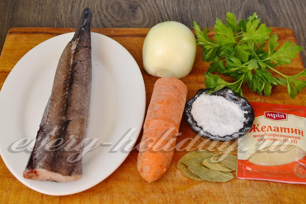 Заливное из хека пошаговый рецепт с