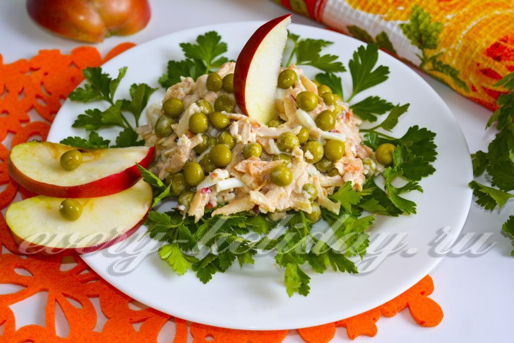 Салат с кальмарами рецепт с с яблоком и