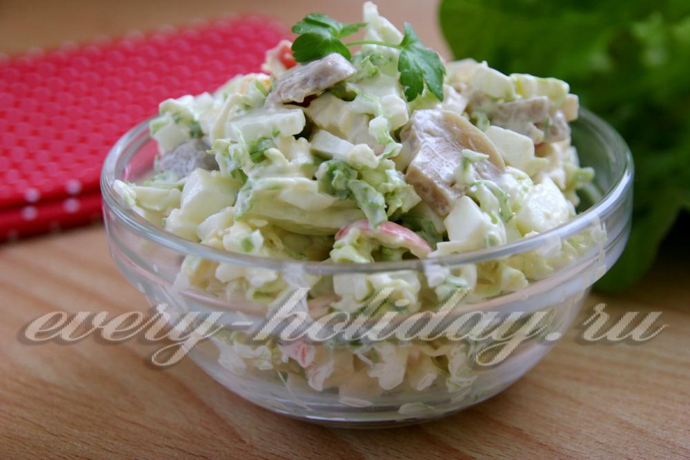 Рецепт салата из пекинской капусты с крабовыми палочками и