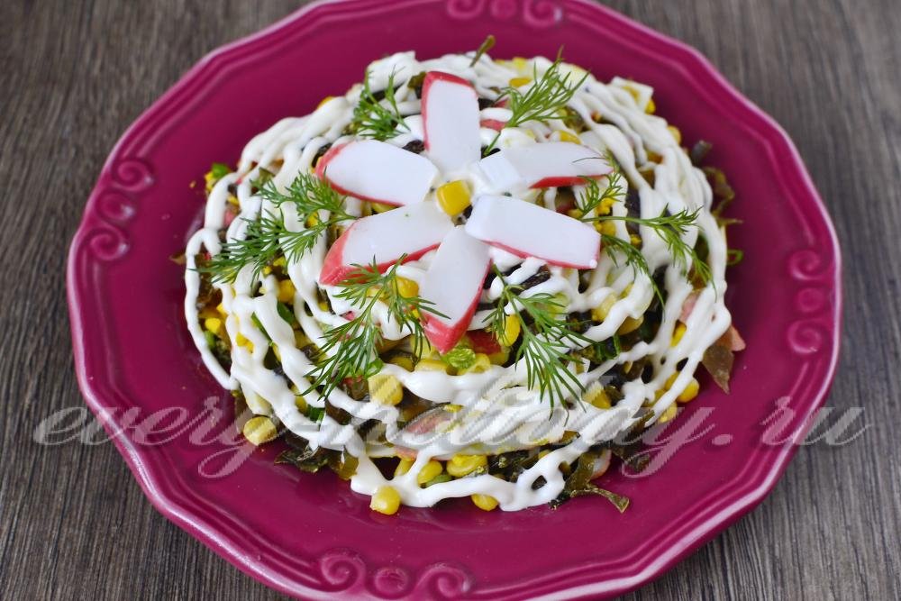 Салат с крабами консервированными рецепты с