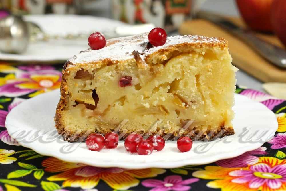 Пирог с клюквой и яблоками рецепт