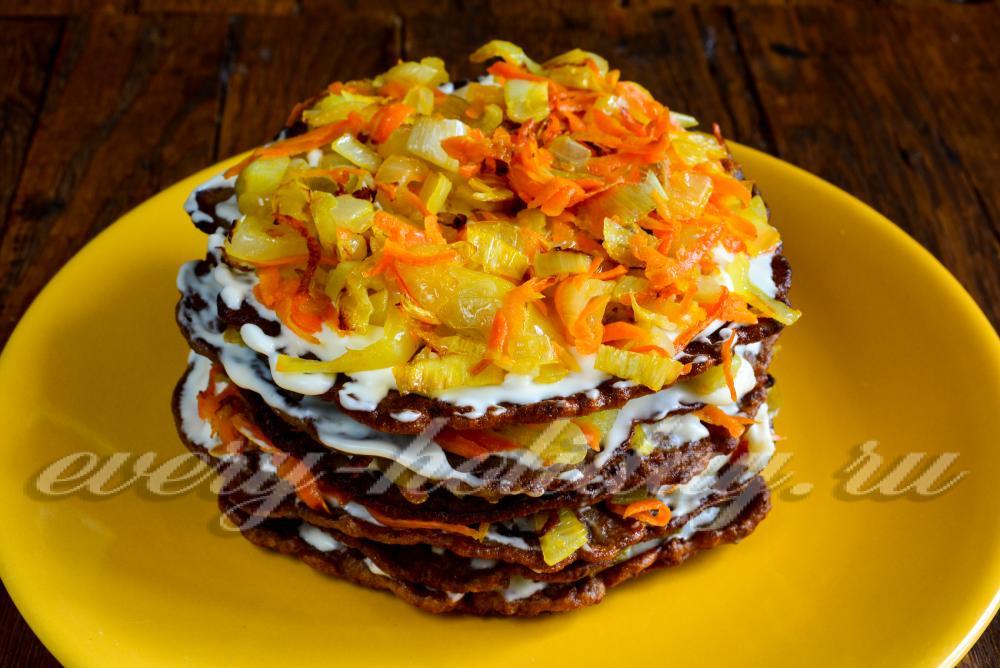 печеночный торт из говяжьей печени пошаговый рецепт с морковью с фото