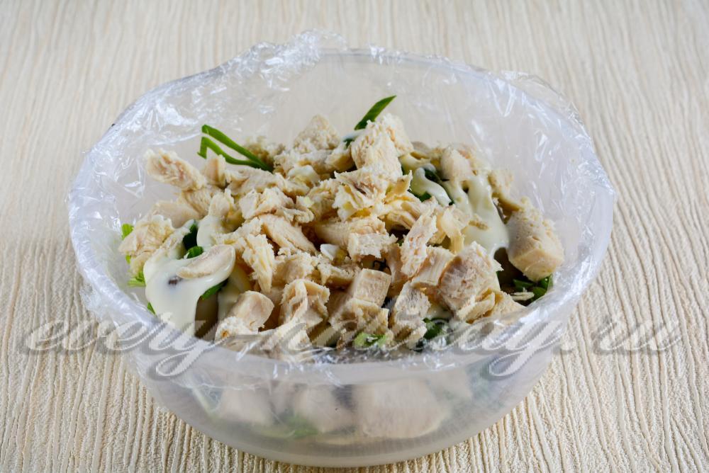 Салат полянка с шампиньонами рецепт с фото