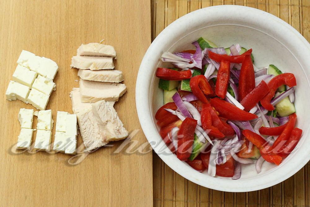 греческий салат рецепт классический с курицей с фото