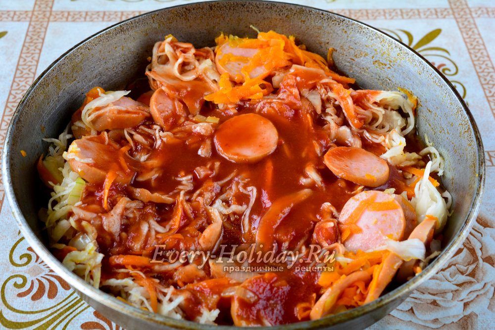 как готовить солянку с сосисками и капустой