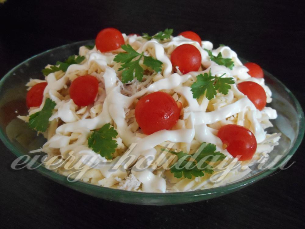 Салат из курицы и помидоров пошаговое фото