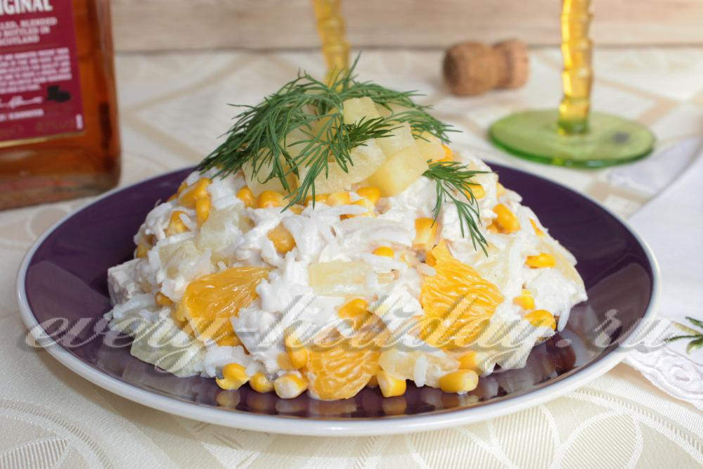 Курица с ананасами салат пошаговый рецепт с