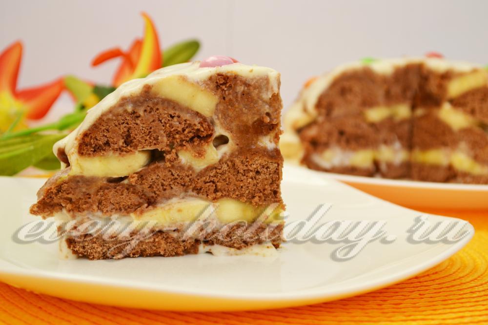 торт из пряников с бананами и сгущенкой фото и рецепт