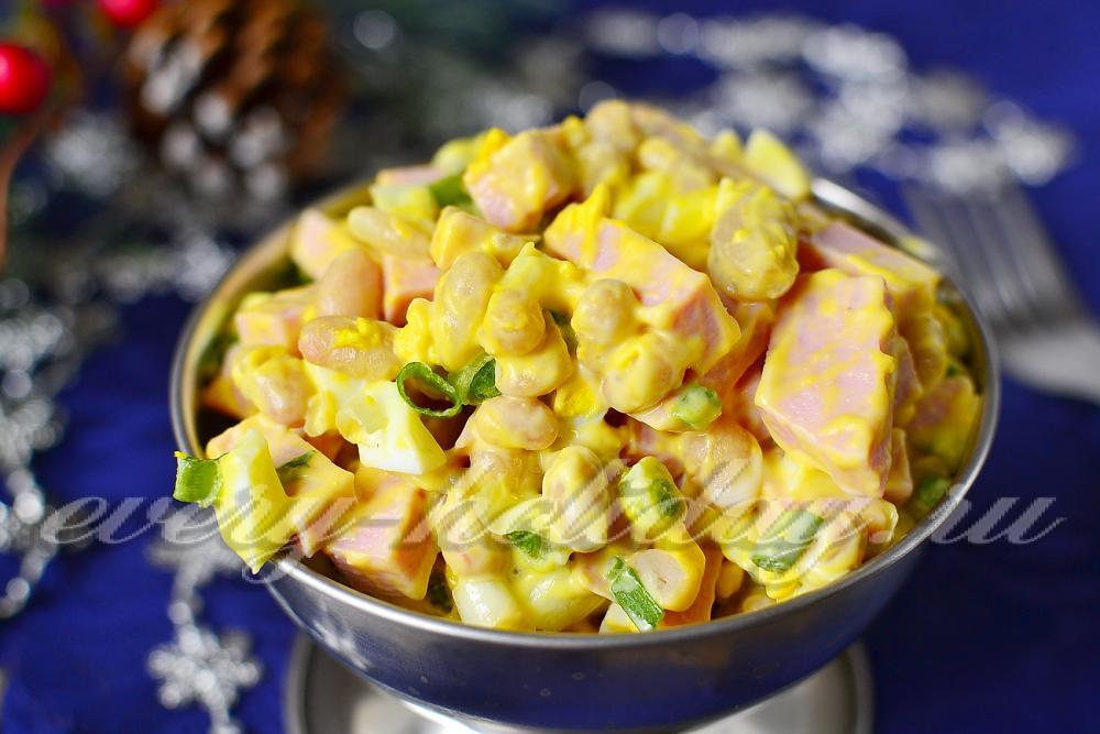 Рецепт салатов с фасолью колбасой