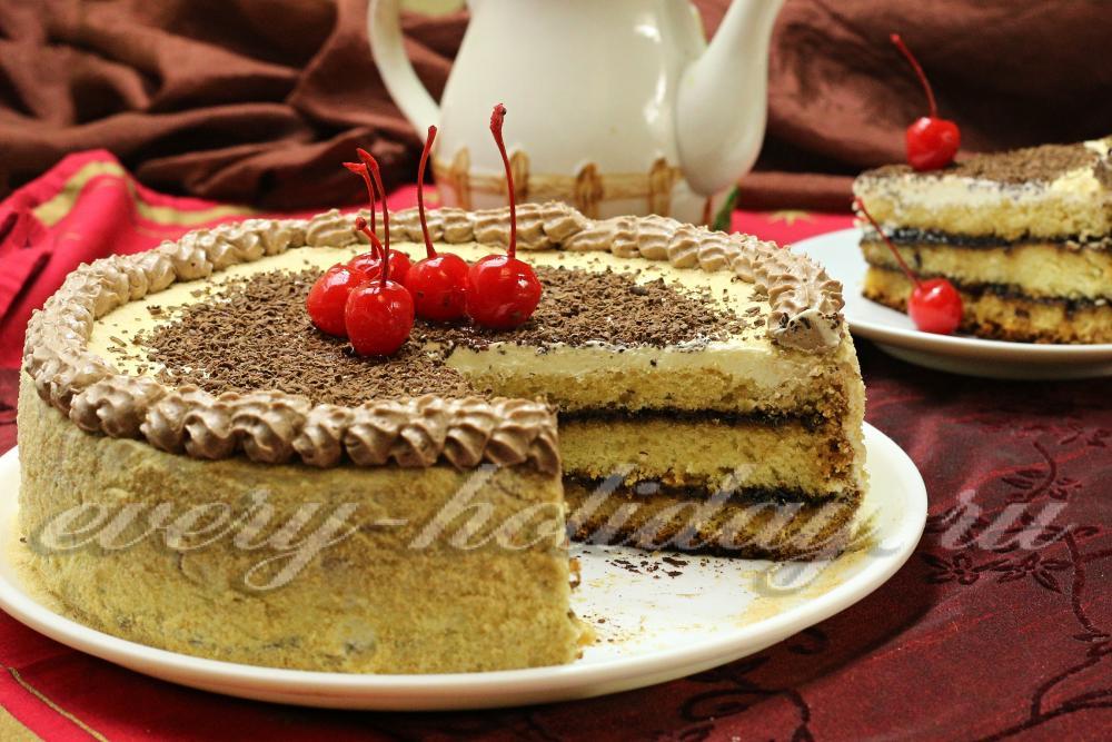 торт бисквитно кремовый рецепт с фото пошагово