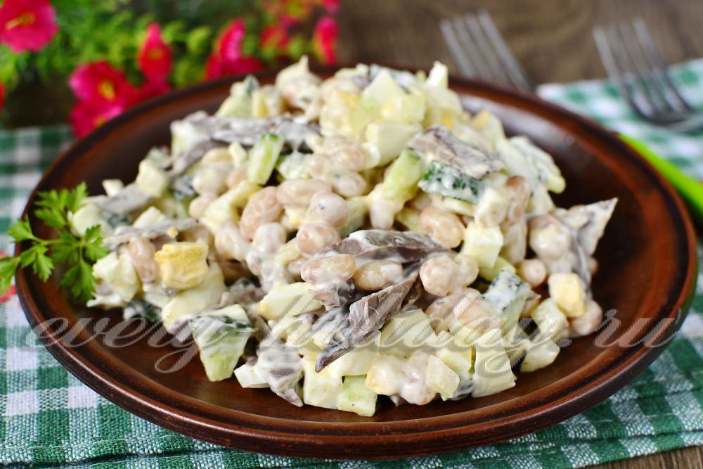свиное сердце с фасолью консервированной рецепты салат