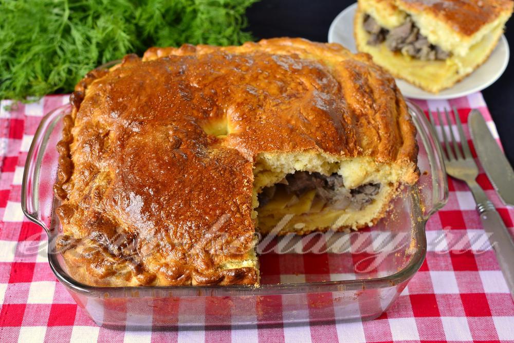 Пирог из дрожжевого теста с мясом и картошкой рецепт