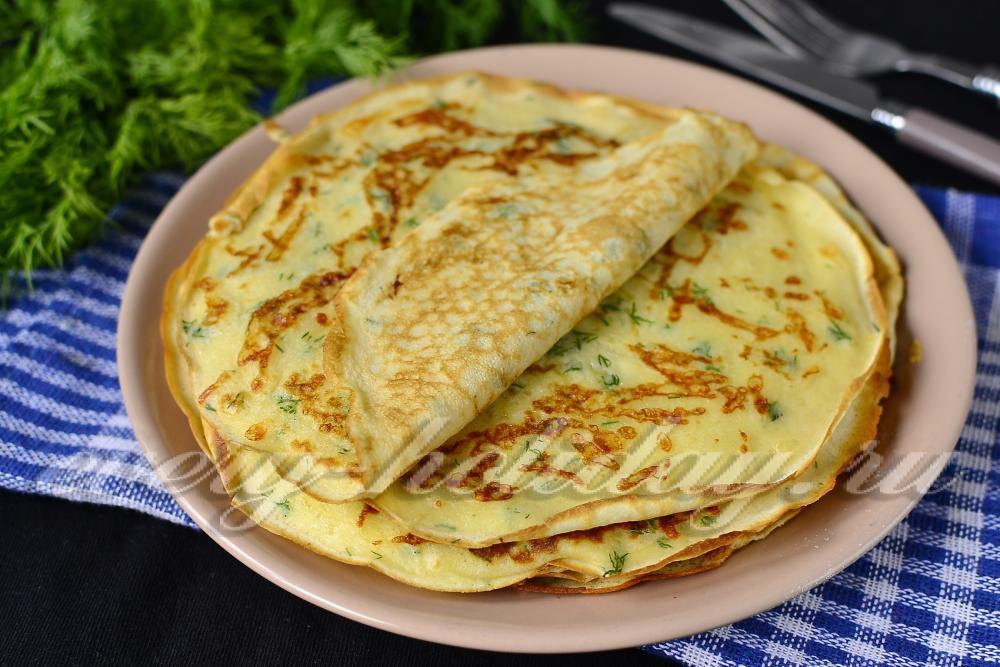 Сырные блинчики с зеленью очень простой рецепт