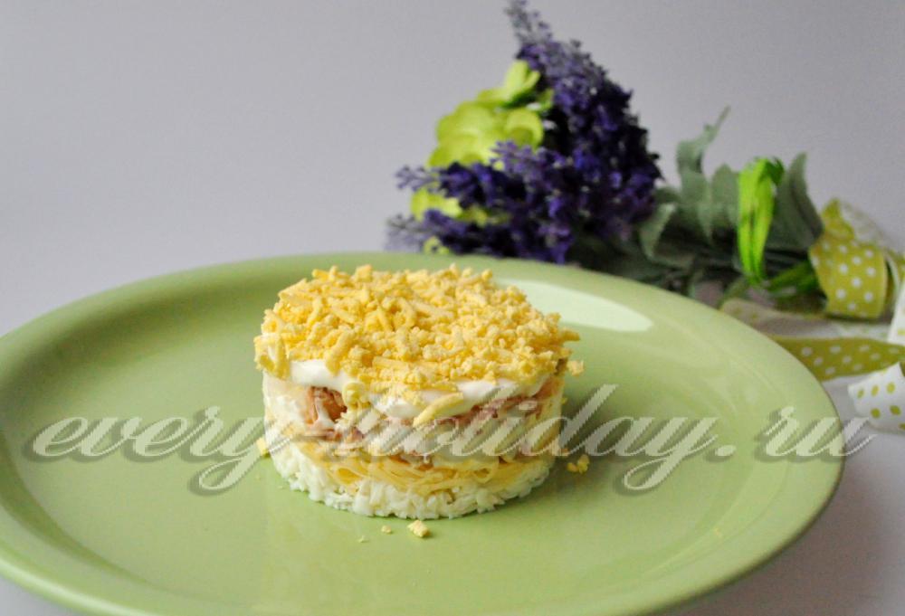 Салат мимоза рецепт с горбушей и картошкой