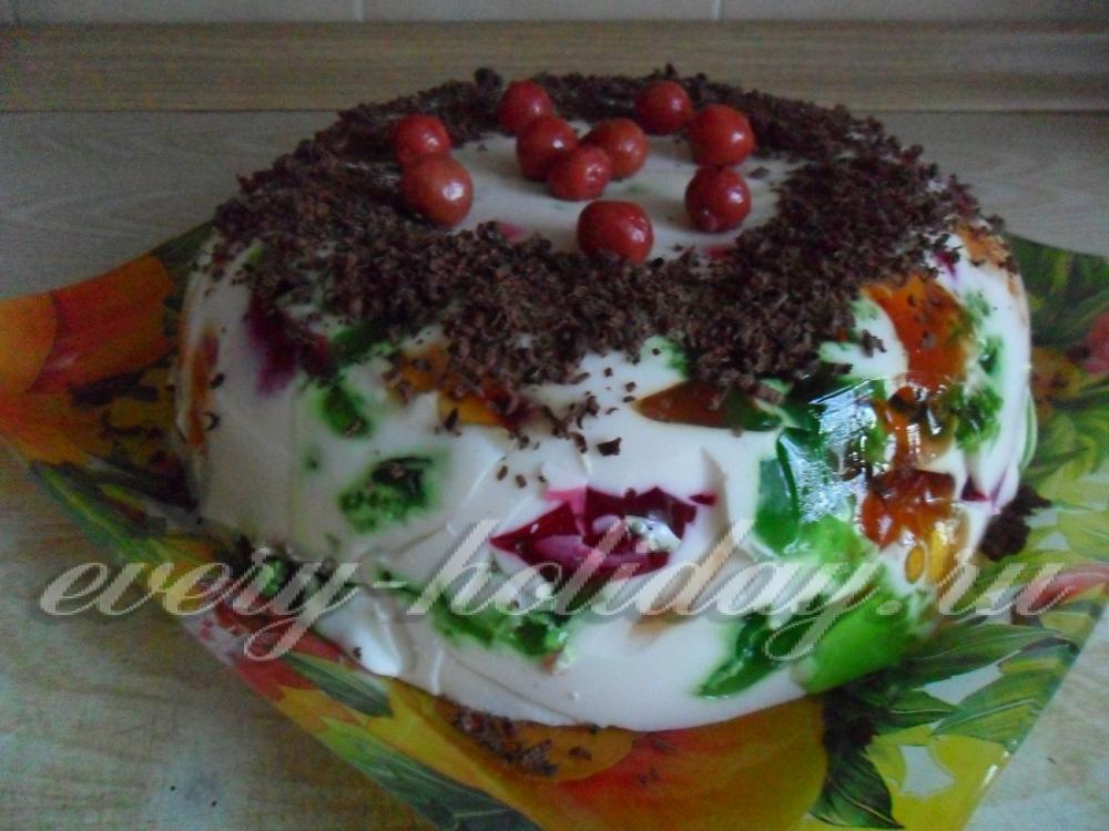 Торт фруктами и желе фото пошагово