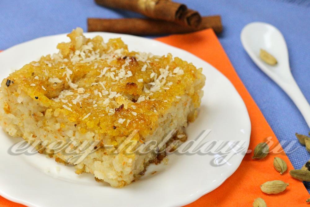 Рисовая бабка с яблоками рецепт с фото