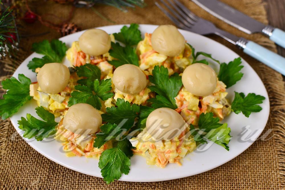 салат поляна с шампиньонами рецепт