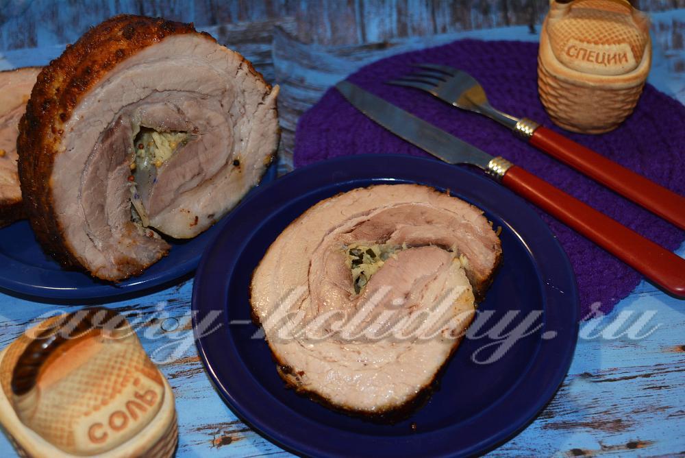 свиной рулет в духовке видео рецепт с фото