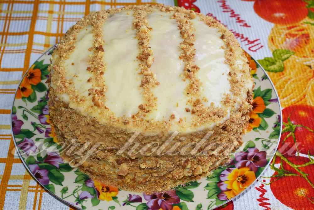 Торт наполеон рецепт классический с заварным кремом с фото пошагово большой