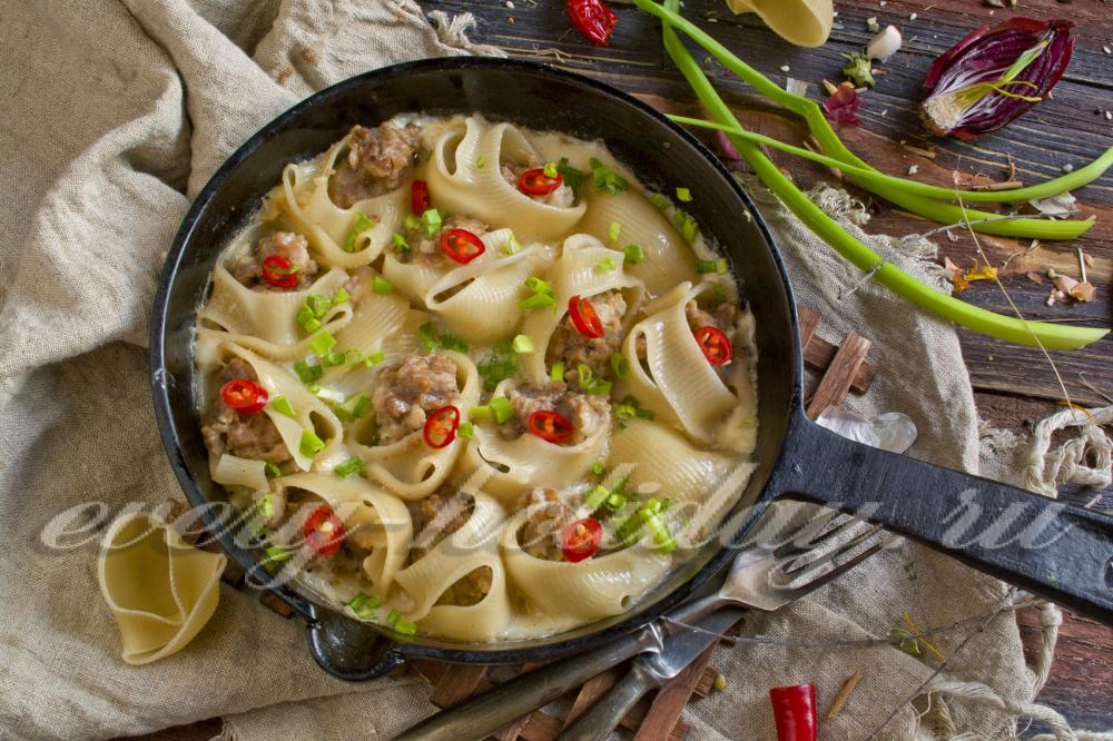 рецепт фаршированные макароны ракушки в духовке