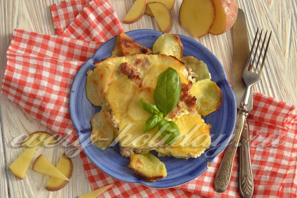 Что приготовить на ужин из картошки и фарша в духовке пошагово