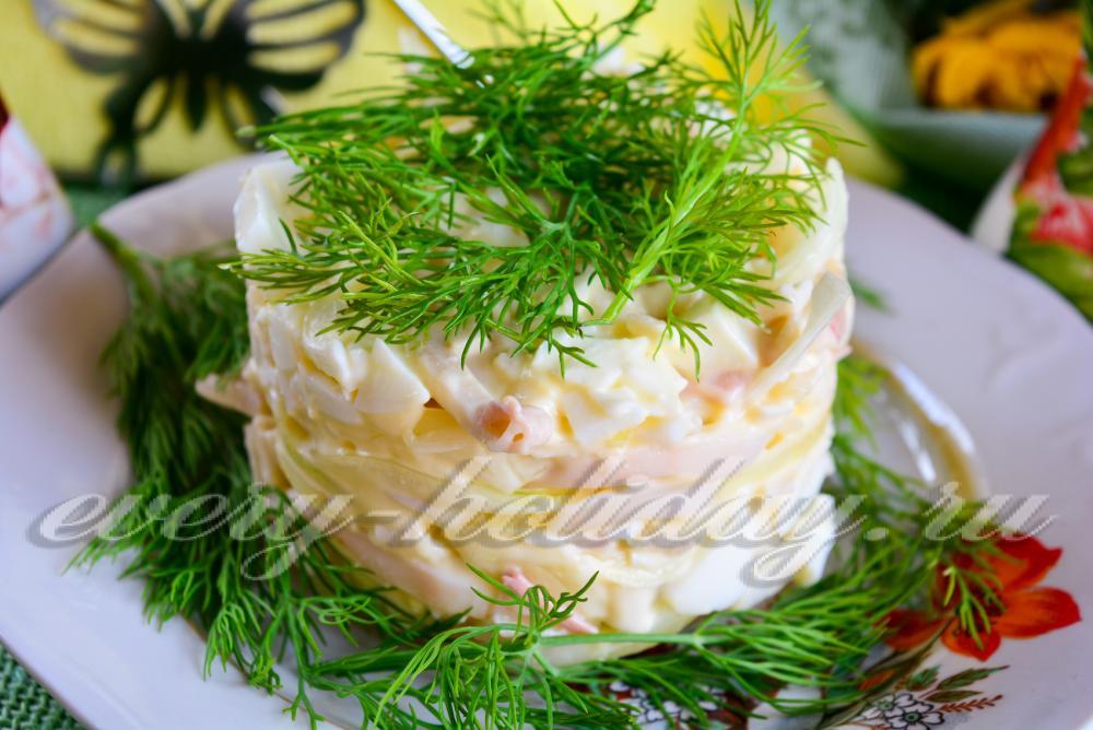 Рецепт салата с кальмарами праздничный с