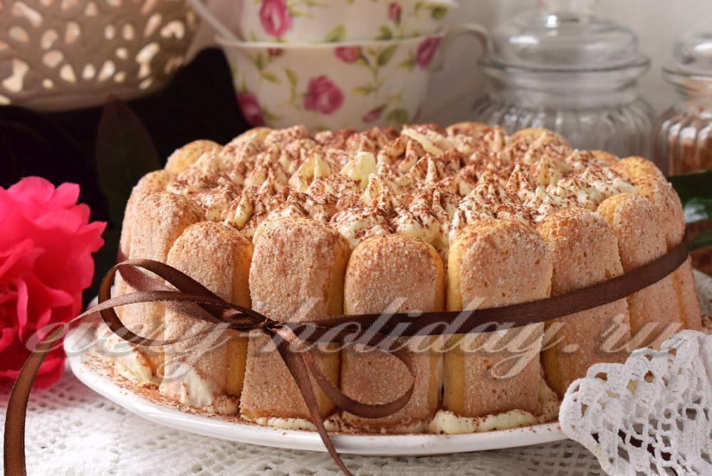 Рецепт торта из печенья савоярди без выпечки