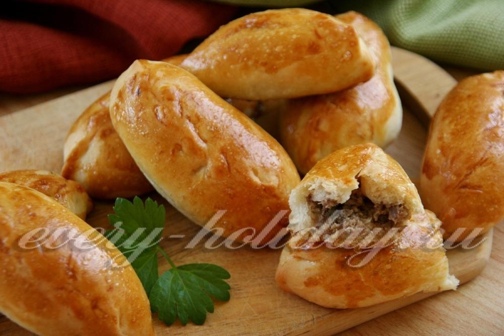 Пирожки с мясом в духовке из дрожжевого теста пошаговый рецепт с фото