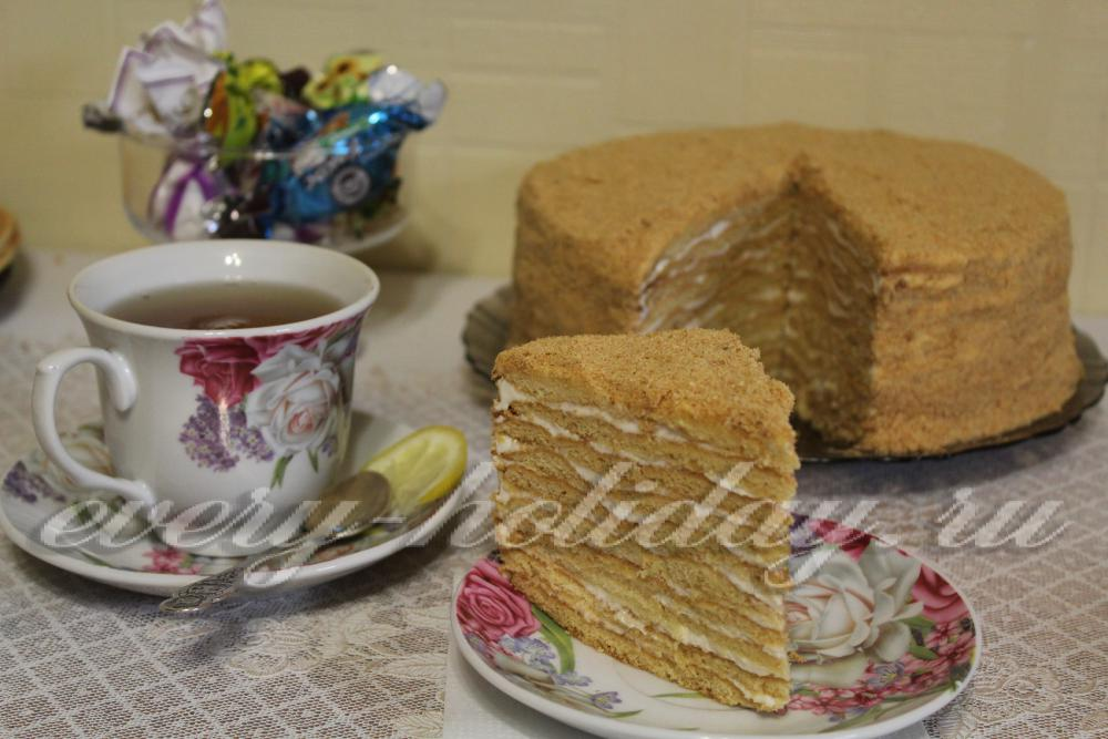 Рецепт торта медовик со сметанным кремом в домашних