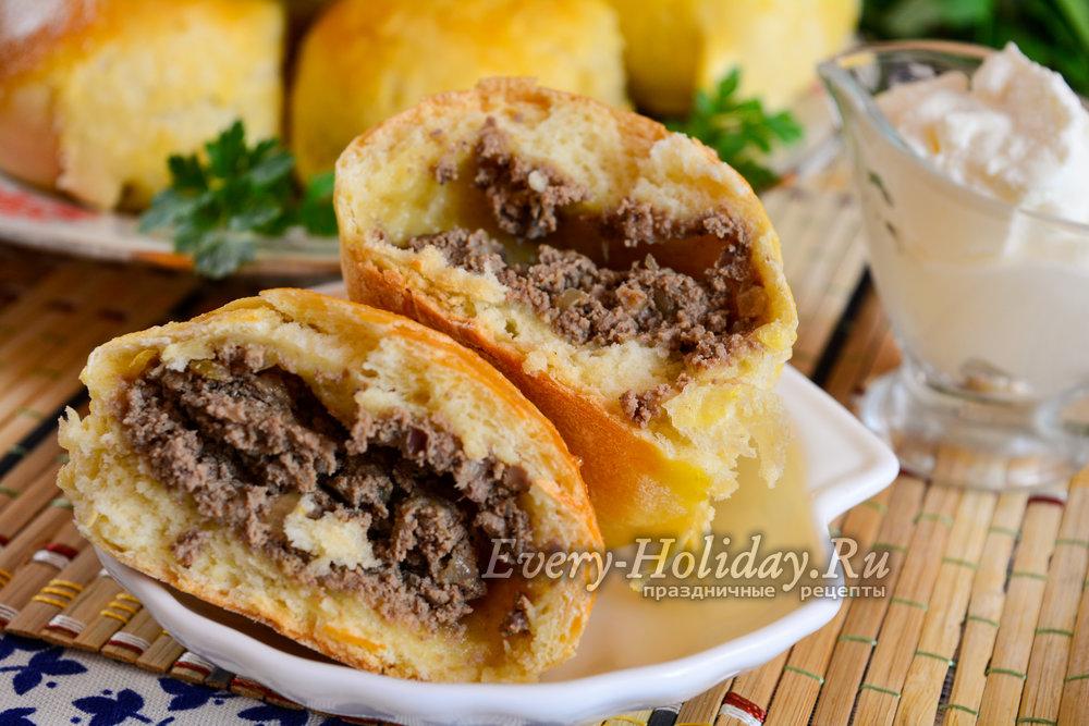 Пирожки с печенкой в духовке пошаговый рецепт с фото