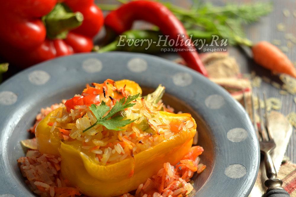 Рецепт фаршированных перцев с овощами и рисом