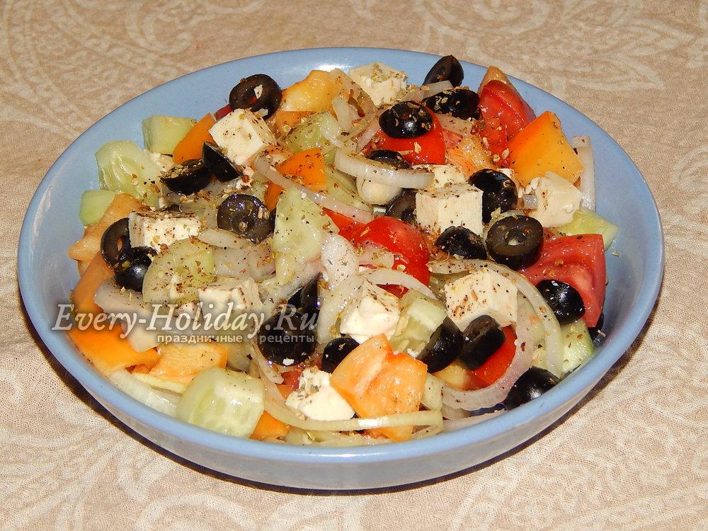 Греческий салат рецепт с брынзой фото пошагово