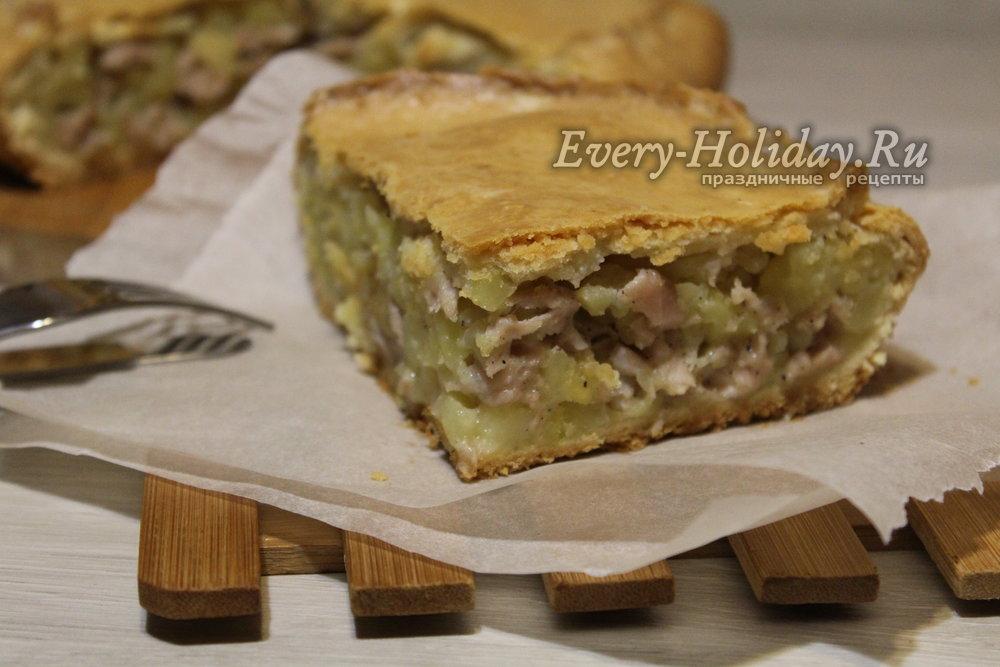 рецепт пирога с картошкой и курицей с фото