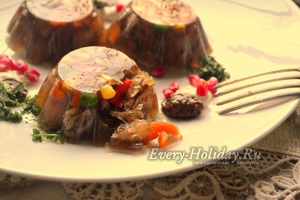 холодец из свиных ножек с желатином рецепт с фото пошагово
