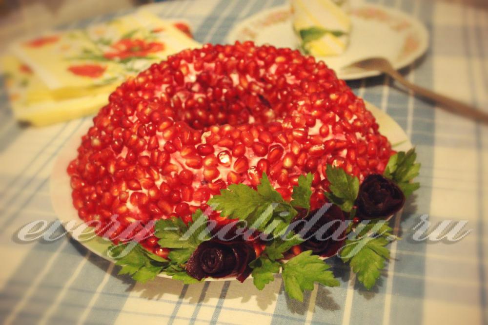 Гранатовый браслет салат рецепт с курицей и грецкими