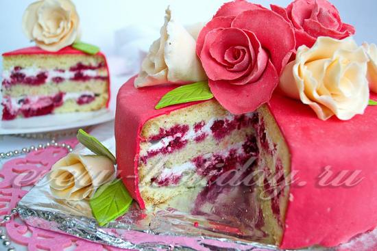 Рецепт бисквитного торта с вишней «Розы»