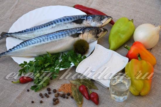 Продукты для приготовления скумбрии пряного посола