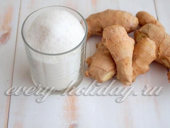 Ингредиенты для цукатов из имбиря