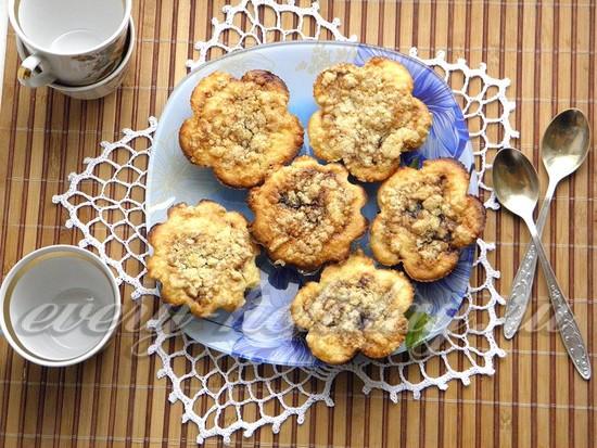 рецепт кексов с творожной начинкой