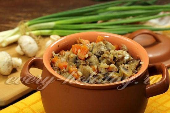гречка в горшочках в духовке рецепты с фото с грибами и курицей