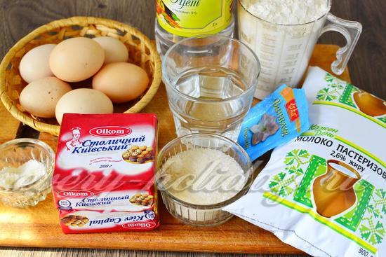 Ингредиенты для приготовления торта Наполеон