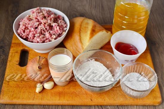 Ингредиенты для приготовления котлет в духовке с подливкой