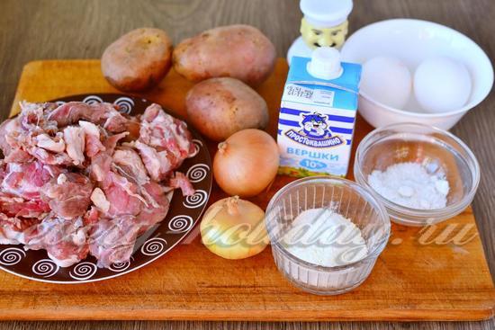 Ингредиенты для приготовления картофельной запеканки с фаршем