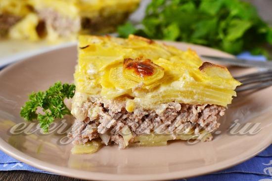 Картофельная запеканка с фаршем в духовке рецепты с фото пошагово