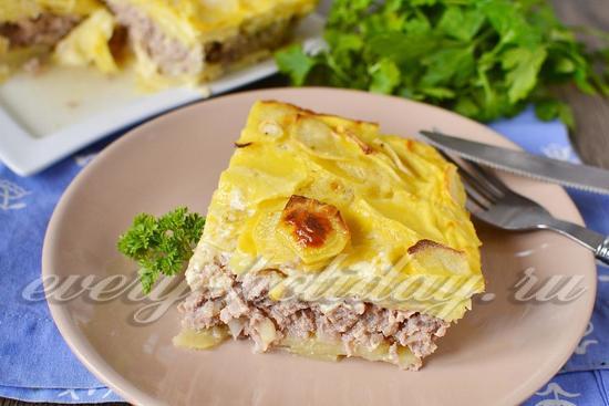 рецепт запеканки с мясным фаршем и картофелем