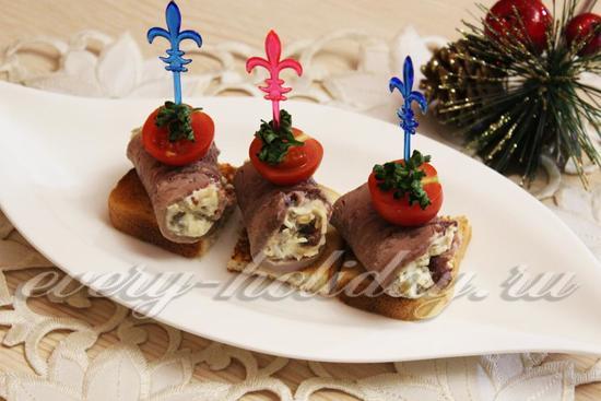 рецепт канапе с грибами и языком