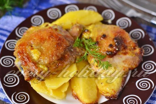 картофель с мясом и майонезом в духовке рецепт